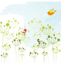 Springtime colorful bird floral wallpaper vector