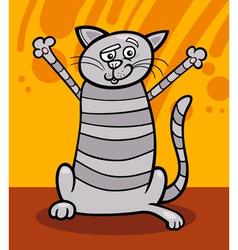 Happy tabby cat cartoon vector