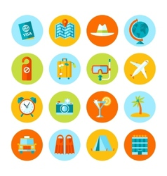 Set of flat travel and tourism icons vector