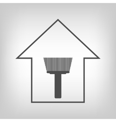 House with paint brush vector
