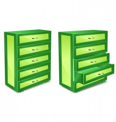 Wooden commode in green vector