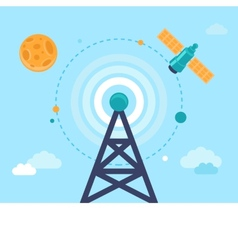 Antenna tower and satellite vector