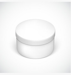 Realistic round package box for products vector