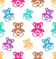 Seamless pattern with teddy bears vector