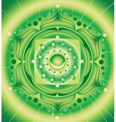Abstract green pattern mandala of anahata chakra vector