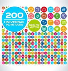 200 universal plain icon set vector