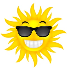 Happy summer sun with glasses vector