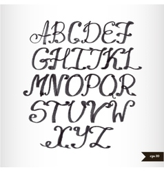 Handwritten calligraphic black watercolor alphabet vector