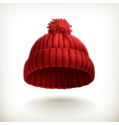 Knitted red cap vector