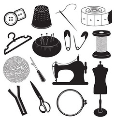 Sewing tool icons collection vector