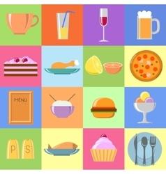 Flat food icons set vector