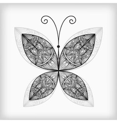 Abstract highly detailed nonochrome butterfly vector