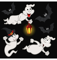 Halloween with ghost and bats vector