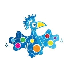 Decorative bird with palette on the wings vector