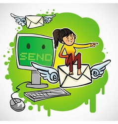 Woman sit on the email vector