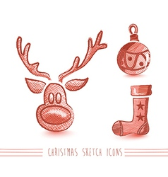 Merry christmas sketch style elements set eps10 vector
