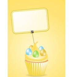 Easter cupcake and label vector