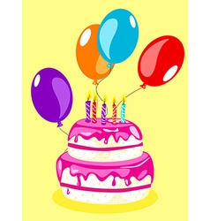 Birthday cake card-pink vector