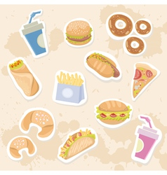 Fastfood stickers set vector