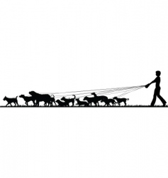 Female dog walker vector