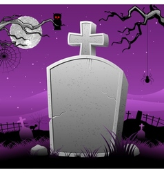 Tomb stone in halloween night vector