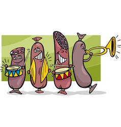 Sausages band cartoon vector