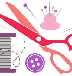 Sewing tools icons vector