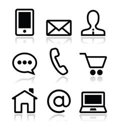 Contact web icons set vector