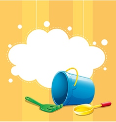 A stationery with a blue pail a shovel and fork vector