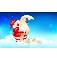 Santa claus reading wish list vector