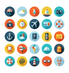 Set of travel flat design icons with long shadows vector