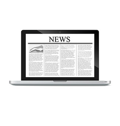 Laptop with news article on screen vector
