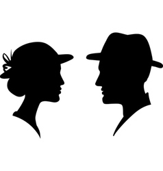 Man and woman profile silhouette vector