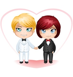 Gay grooms getting married 3 vector