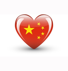 Heart-shaped icon with national flag of china vector