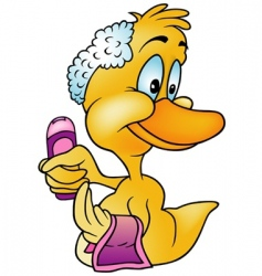 Duck with shampoo vector