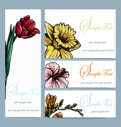 Set of four floral invitation card vector