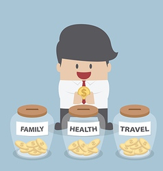 Businessman putting coin into family health trav vector