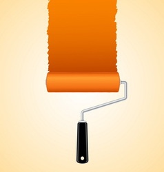 Paint roller brush with orange vector