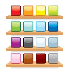 Icon on wood shelf display template design vector