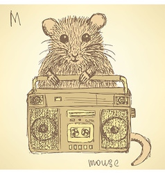 Sketch fancy mouse in vintage style vector