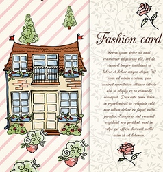 Retro home hand drawn design card vector