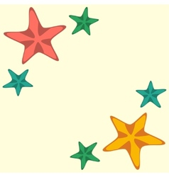 Frame with red and yellow starfishes vector