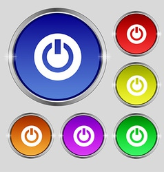 Power switch on turn on icon sign round symbol on vector