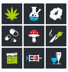 Color drugs icon collection vector