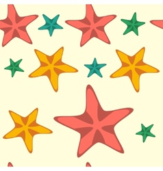 Seamless pattern with cartoon starfishes vector