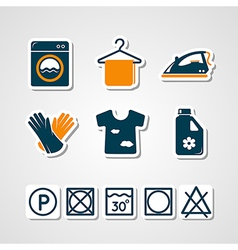Laundry paper cut icons vector
