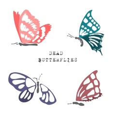 Set of dead butterflies vector