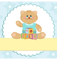 Babys greetings card with kitty vector