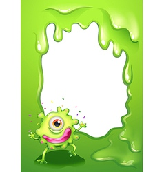 A one-eyed green monster with a pink lips vector